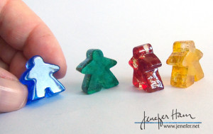 Glass Meeples by Jenefer Ham