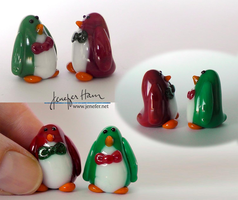 Holiday penguins by Jenefer Ham