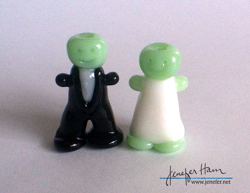 Bride and Groom Wedding Gleeple Meeples by Jenefer Ham