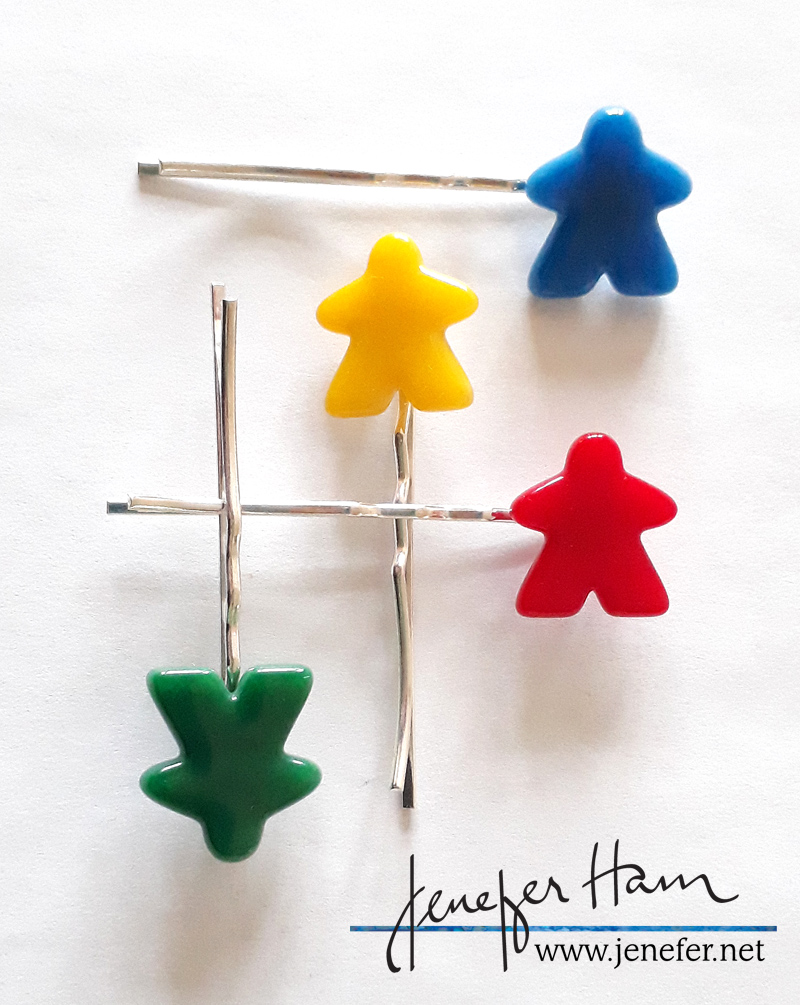 meeple bobby pin by Jenefer Ham