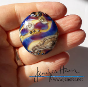 shimmers silver glass pendant by Jenefer Ham