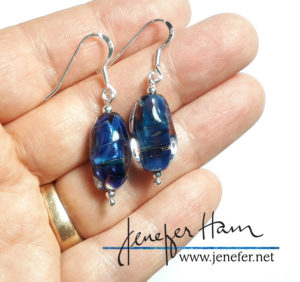 iridized glass earrings by Jenefer Ham