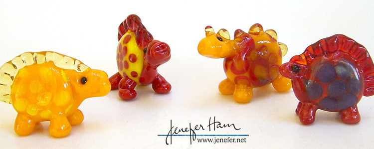 Glass dinosaurs by Jenefer Ham