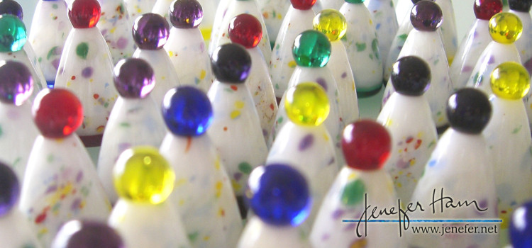 Chinese Checkers glass markers made by Jenefer Ham
