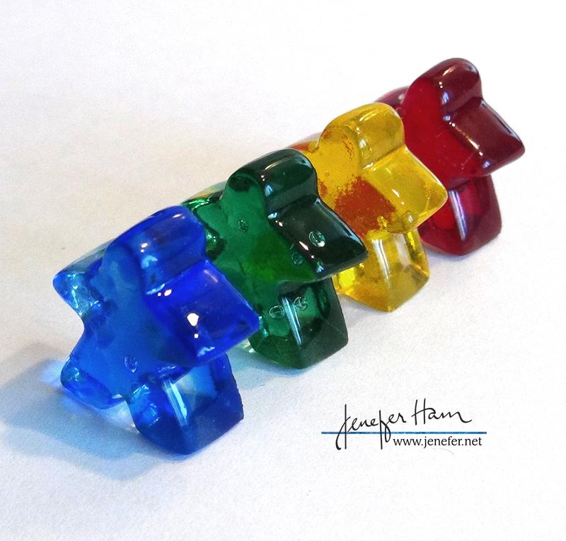 Glass Meeples by Jenefer Ham