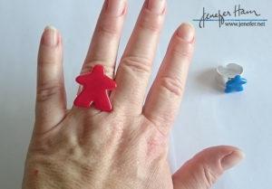 meeple ring by Jenefer Ham Glass