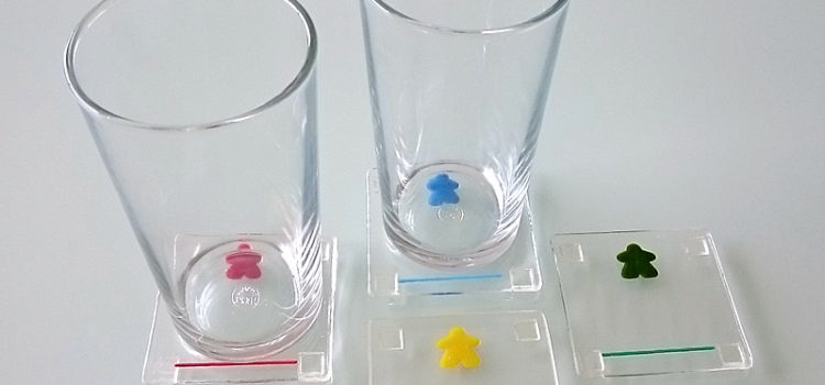 meeple coasters by Jenefer Ham Glass