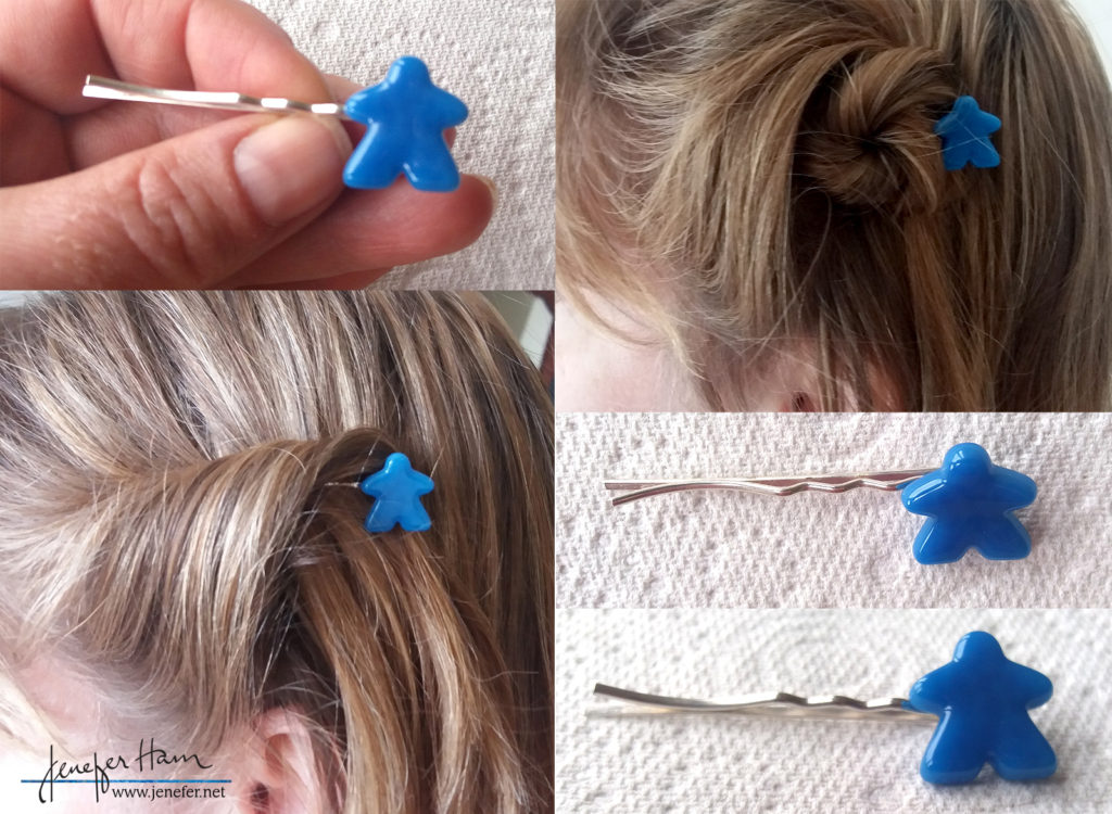 Meeple bobby-pins by Jenefer Ham