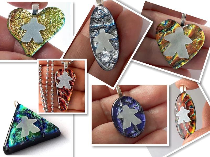 dichroic meeple jewelry